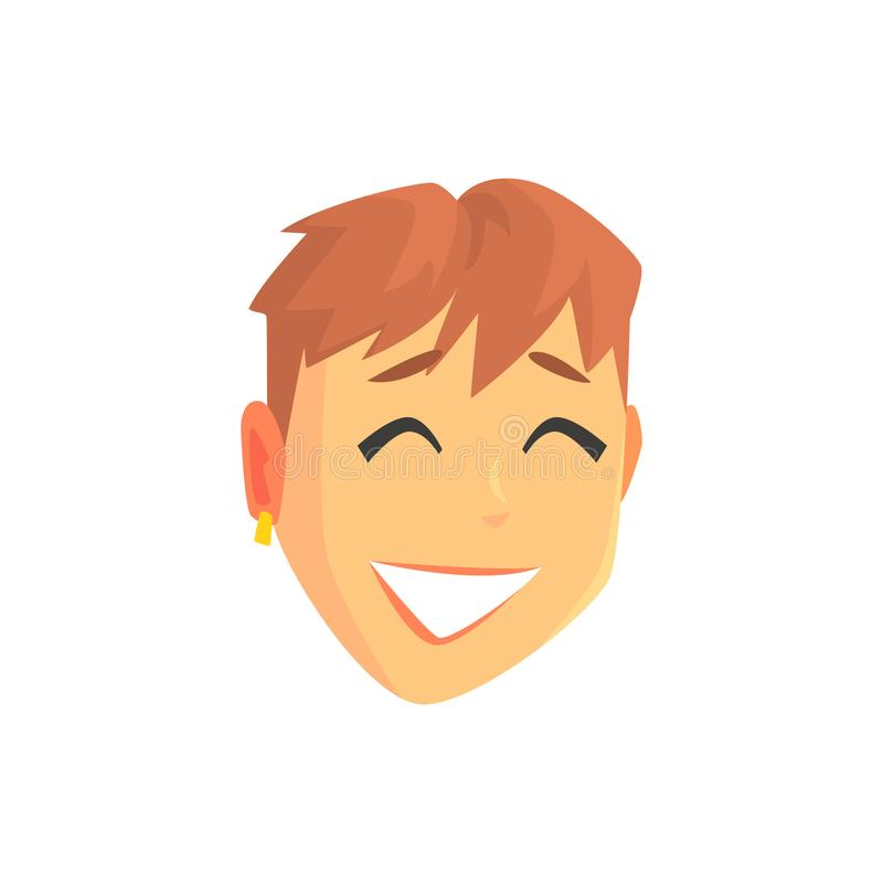 Face of a young beautiful smiling woman with short hair, positive female character cartoon vector illustration vector illustration