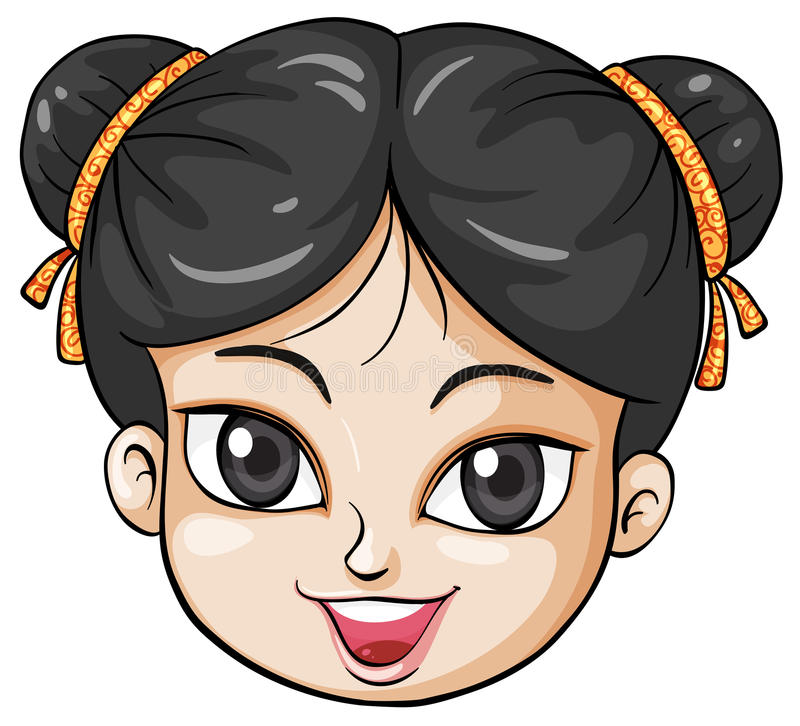 A face of a young Chinese woman stock illustration