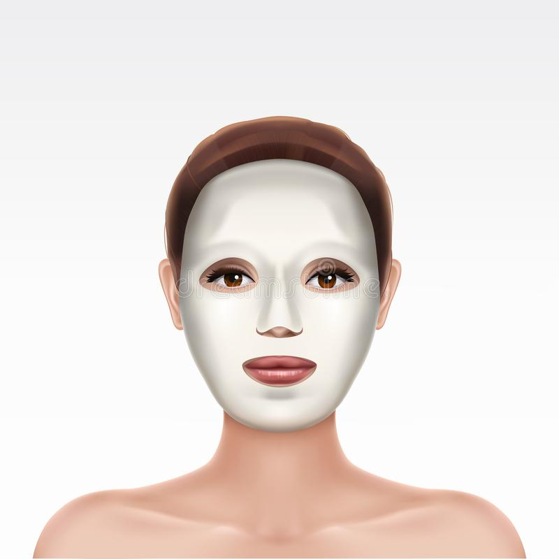 Face of young girl applying cosmetic facial mask royalty free illustration