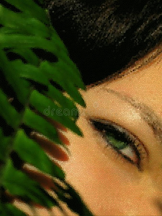 Face of a young girl with green eyes and a branch of fern stained glass effect stock photo