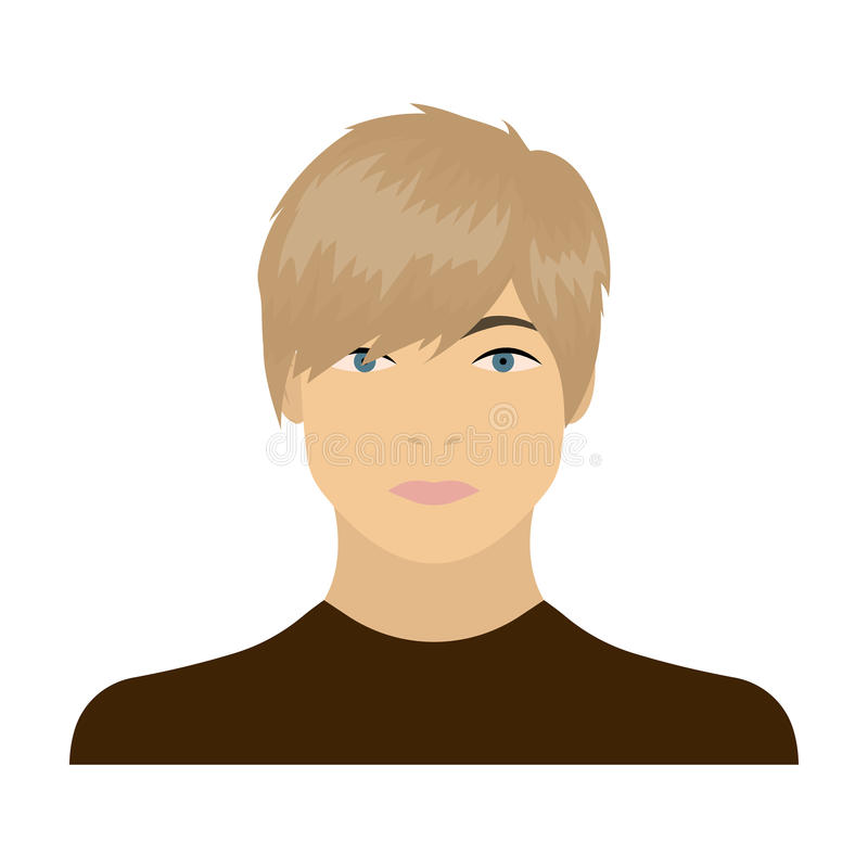 The face of a young guy. Face and appearance single icon in cartoon style vector symbol stock illustration web. stock illustration