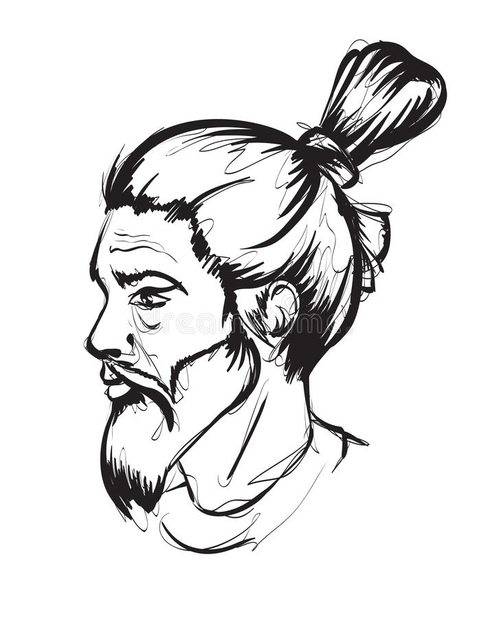The face of a young man. Man with a beard and a bunch of hair.. Fashion man face. The face of a young man. Man with a beard and a bunch of hair.. Vector Fashion royalty free illustration