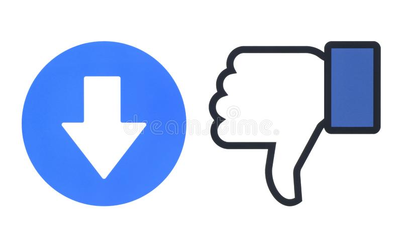 Facebook反感和移情作用的Emoji反应新的downvote按钮  向量例证
