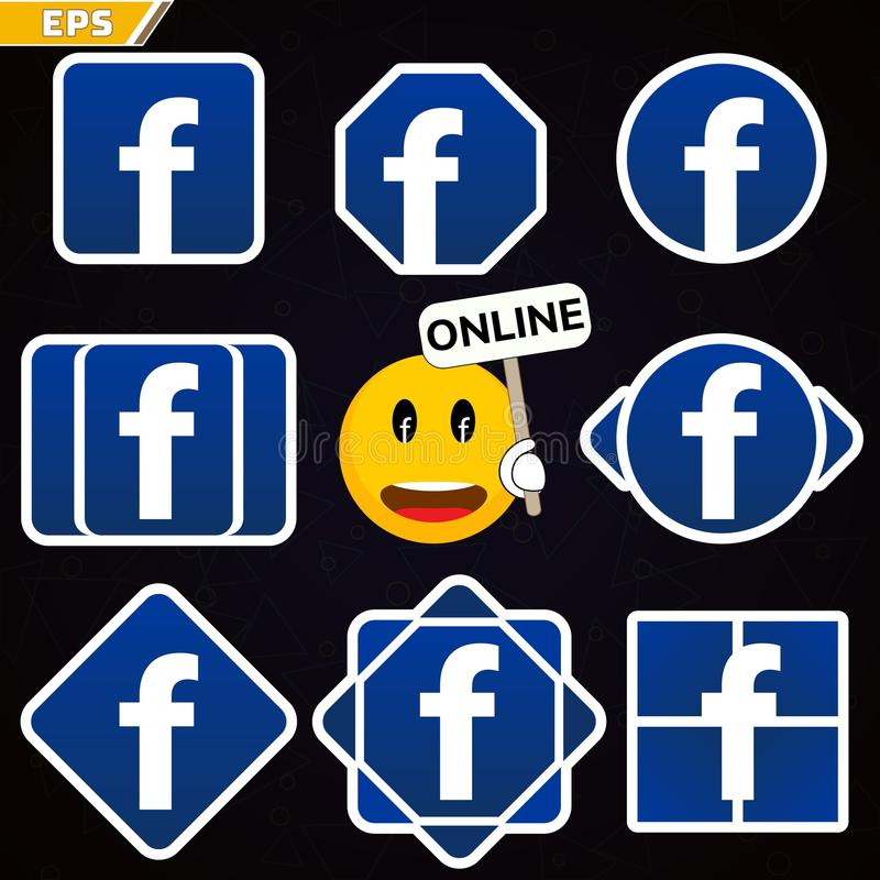 Facebook商标象 社会网络facebook 与网上状态和学生facebook的微笑社会网络 皇族释放例证