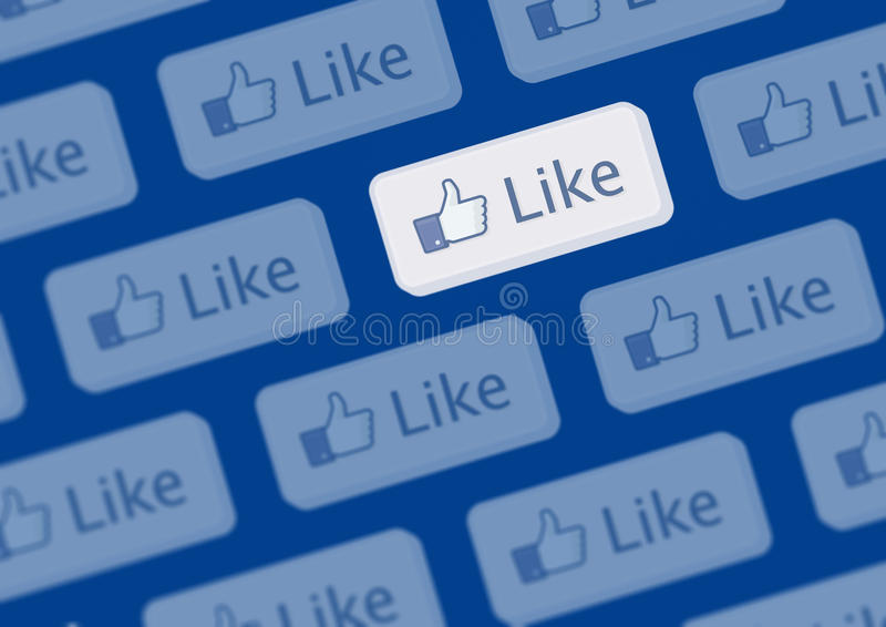 facebook喜欢徽标墙壁 皇族释放例证