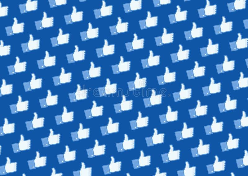 facebook喜欢徽标墙壁 库存例证