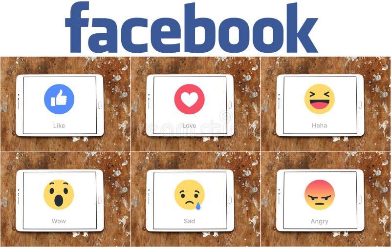 Facebook喜欢按钮移情作用的Emoji象 库存照片