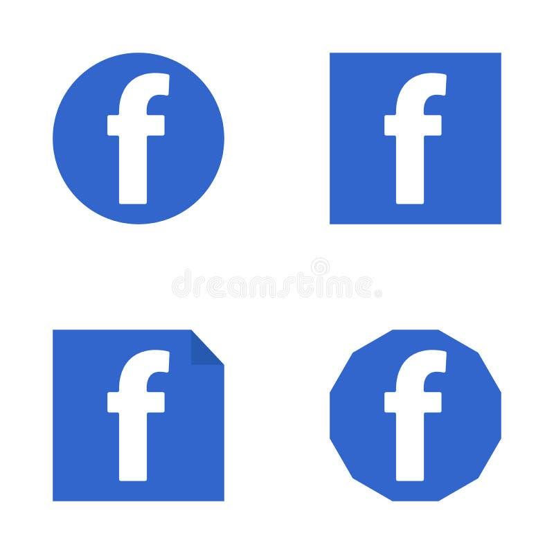 Facebook平的象 库存例证