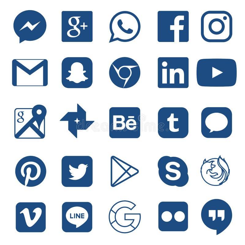 Facebook的,Whatsapp,Skype,Youtube,Instagram,Snapchat,住处,Twitter社会媒介象 皇族释放例证