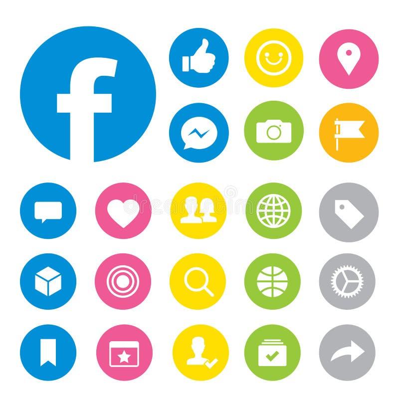 Facebook środków guzika Ogólnospołeczne ikony wektorowe ilustracji