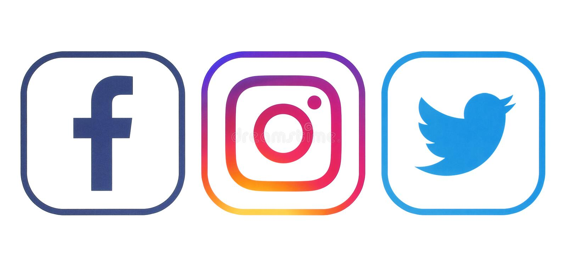 Facebook, świergotu i Instagram logowie, obraz royalty free