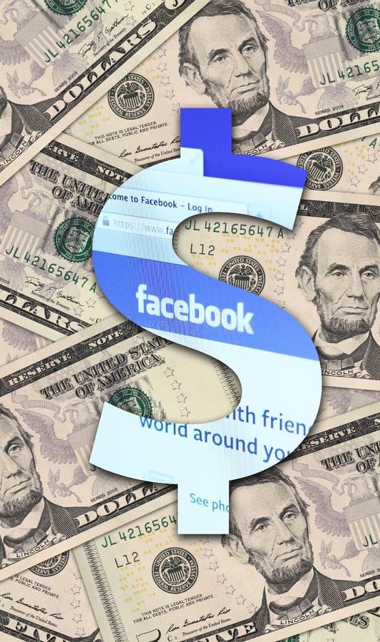 Facebook и доллар США иллюстрация вектора