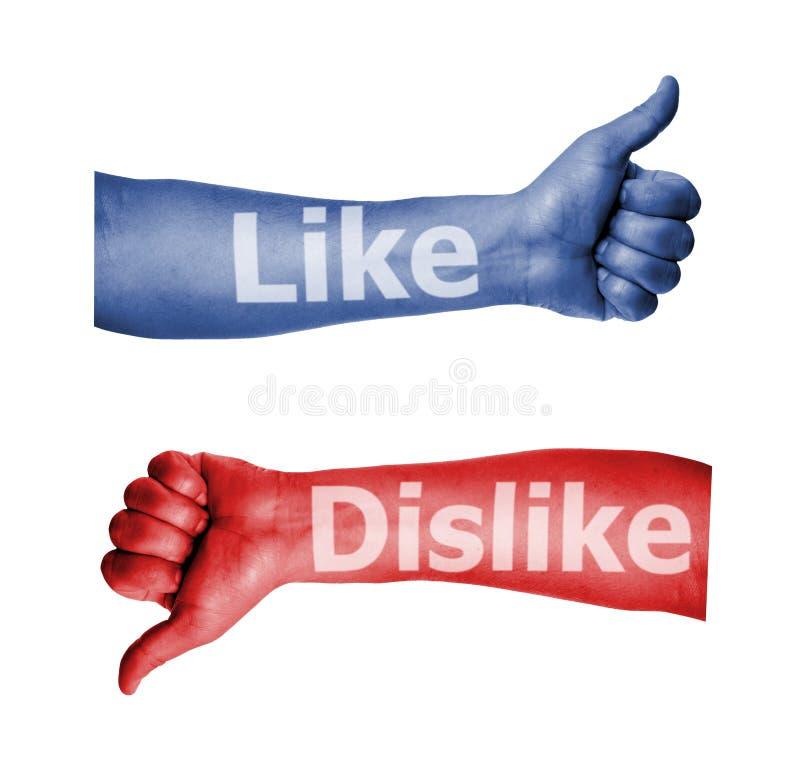 Facebook как большой пец руки нелюбов вверх по знаку стоковая фотография
