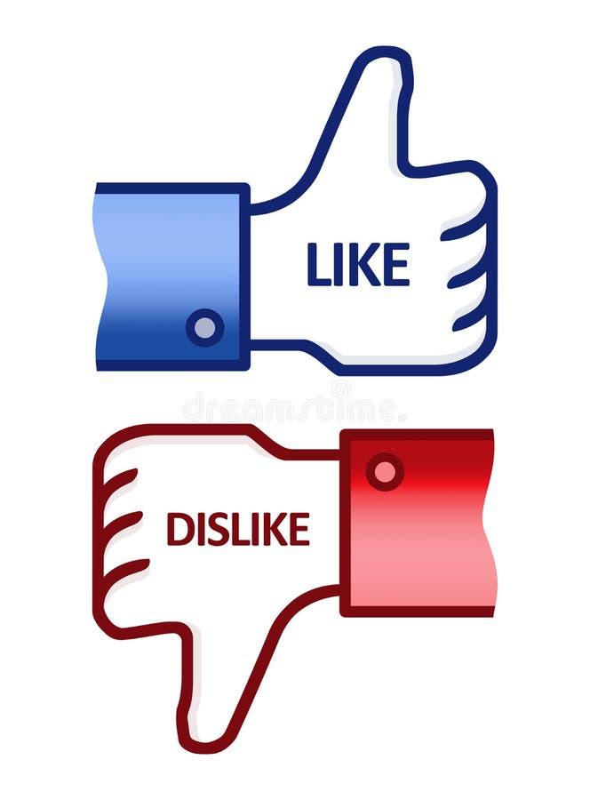 facebook нелюбов любит большой пец руки знака вверх иллюстрация вектора