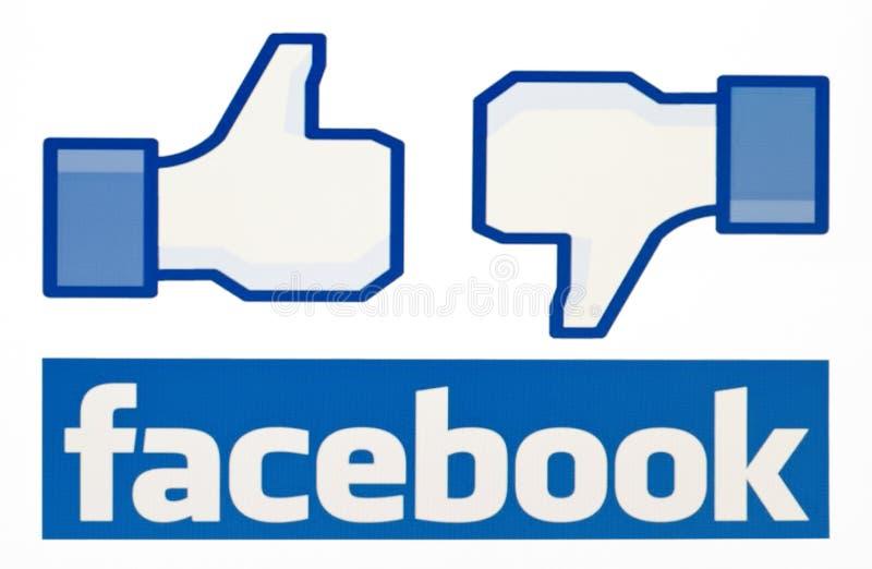 Facebook любит логотип для e-дела, вебсайтов, передвижных применений, знамен, на экране ПК стоковое фото