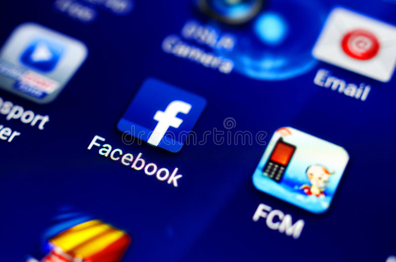 Facebook. Logo icon on a mobile android phone application