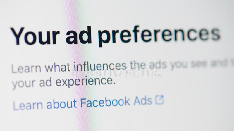 Facebook ad preference royalty free stock photo