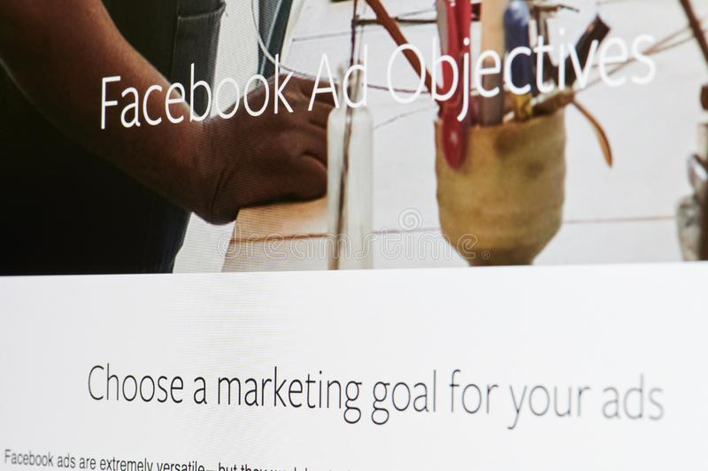 Facebook annonsmål arkivbilder