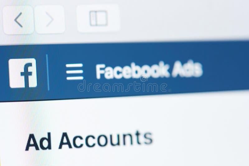 Facebook-Anzeigenkonto stockfotos