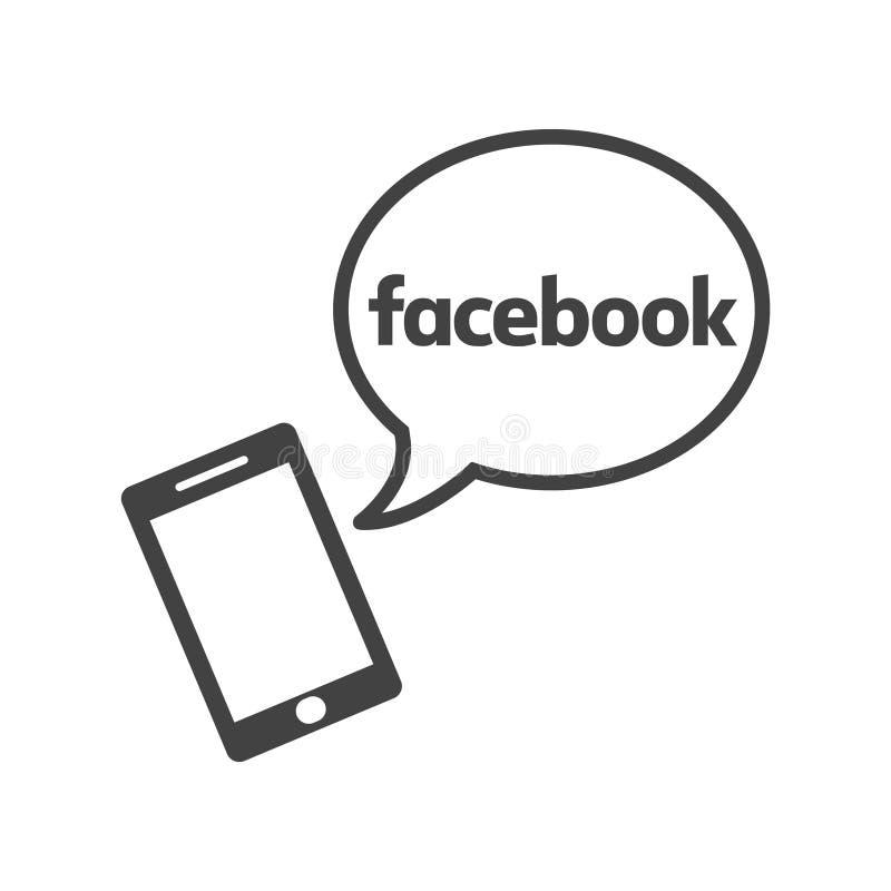Facebook app na smartphone Płaska ikona z mowa bąblem ilustracji