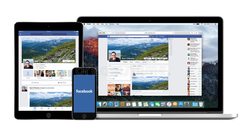 Facebook app no iPad do iPhone de Apple e exposições de Macbook nas pro imagens de stock