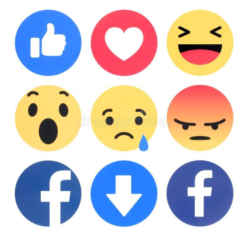 Facebook 6 Begrijpende Emoji-Reacties royalty-vrije stock fotografie