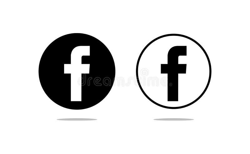 Facebook cirkulärlogoer stock illustrationer