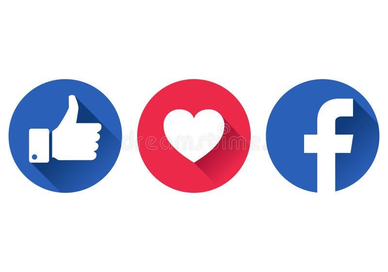 Facebook como ícones ilustração do vetor