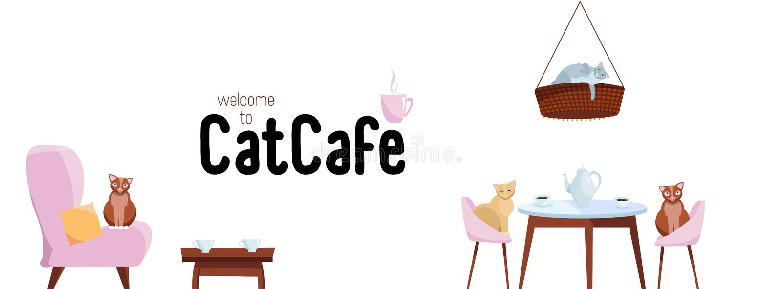 Facebook Cover Web Banner Social Media Design Welcome to cat cafe Template Vector on white background.Cats sit on stylish chairs stock illustration