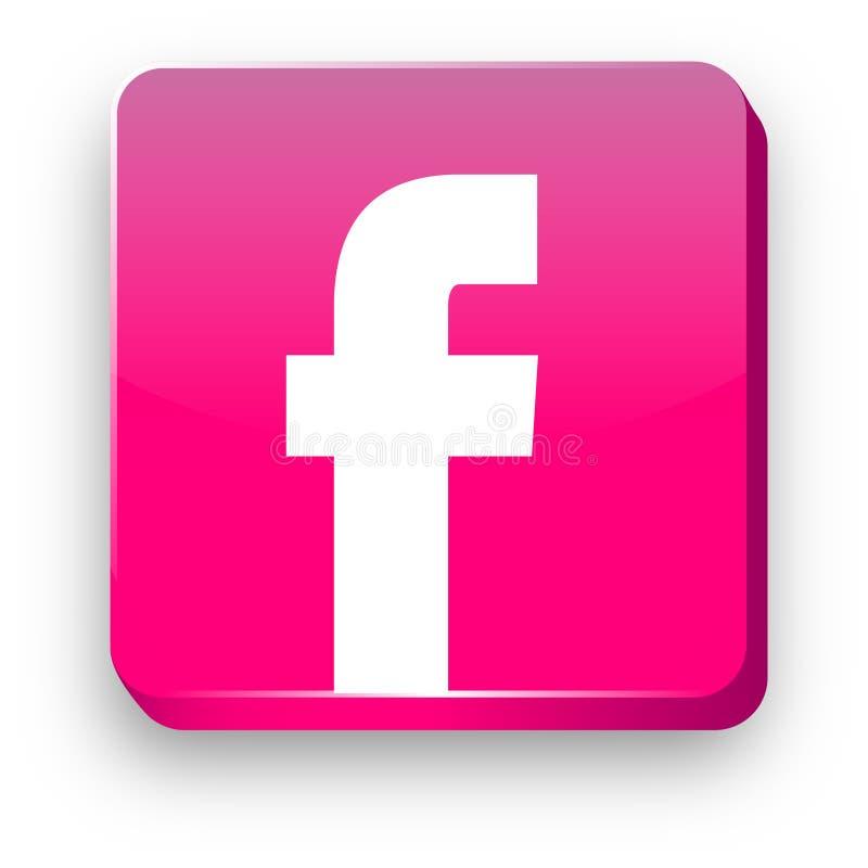 Facebook 3D logo jak guzik ikona royalty ilustracja