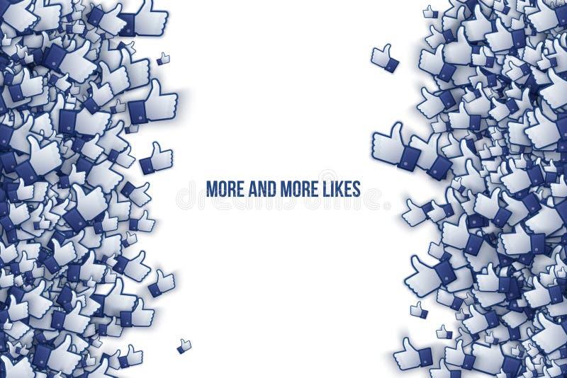 Facebook 3D som handsymboler Art Illustration royaltyfri illustrationer