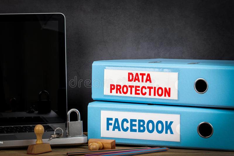 Facebook and Data Protection. Facebook is a well-known social networking service. Riga, Latvia - September 9, 2019: Facebook and Data Protection. Facebook is a royalty free stock photo