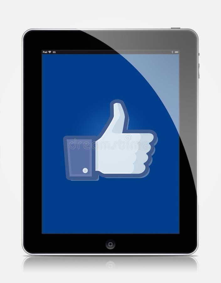 Facebook de Ipad fotos de archivo libres de regalías