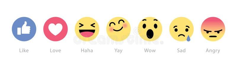 Facebook desenrola cinco botões novos das reações ilustração do vetor