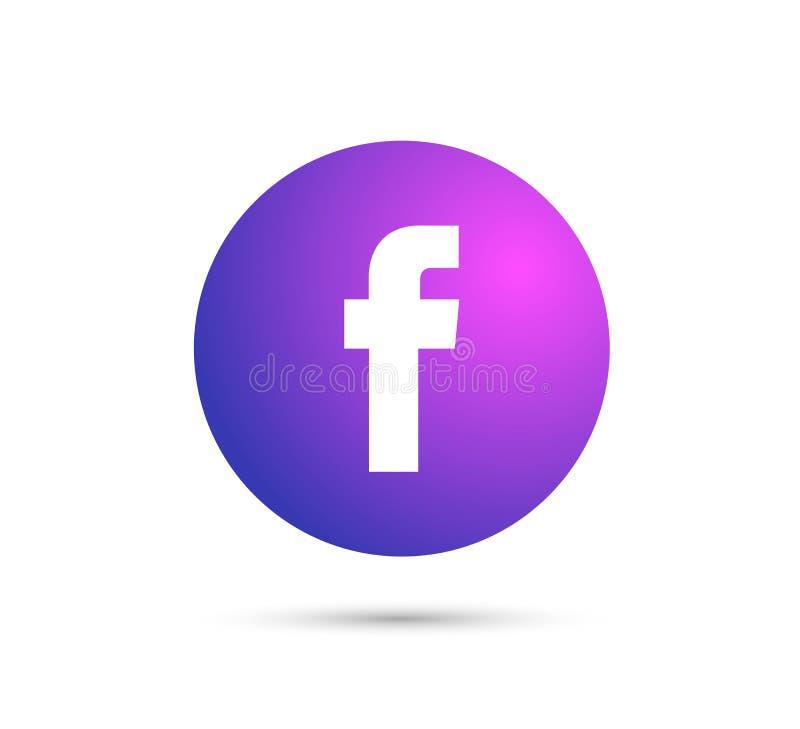 Facebook-embleem met vectorai dossier het rood maakte gekleurd rond stock illustratie
