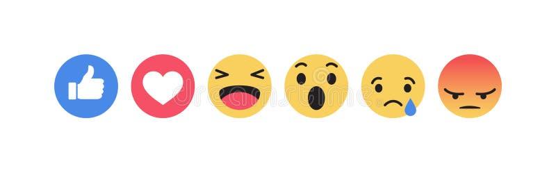 Facebook Emoji象 传染媒介社会媒介背景 也corel凹道例证向量 皇族释放例证
