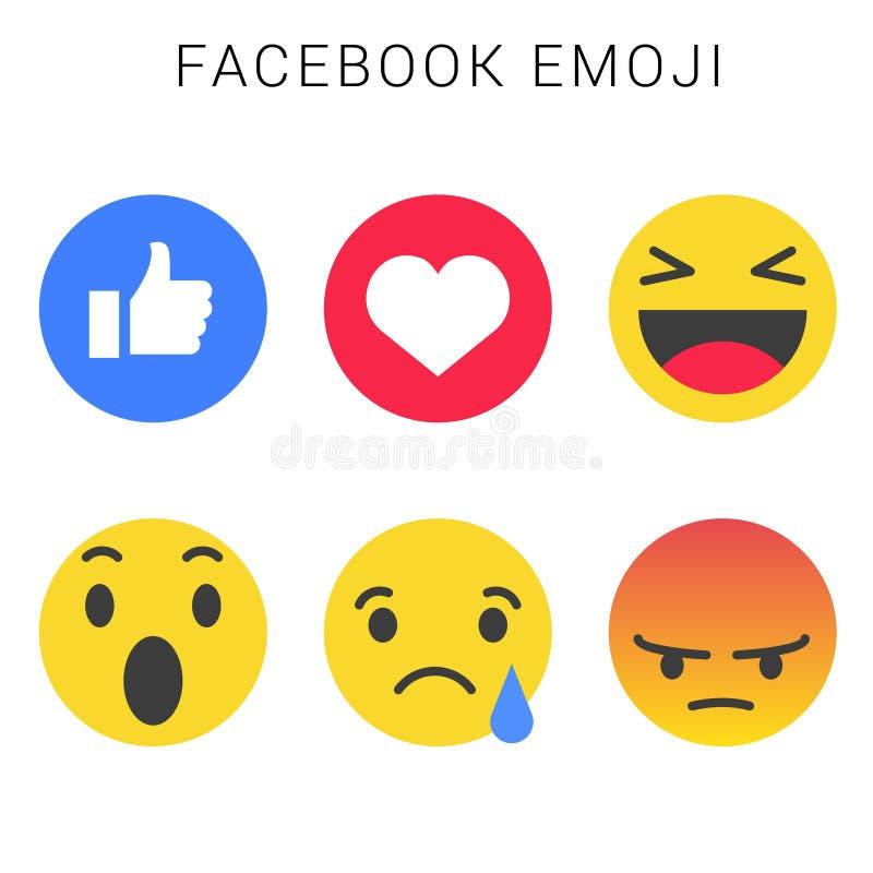 Facebook emoji z wektorową kartoteką Smiley twarze ilustracja wektor
