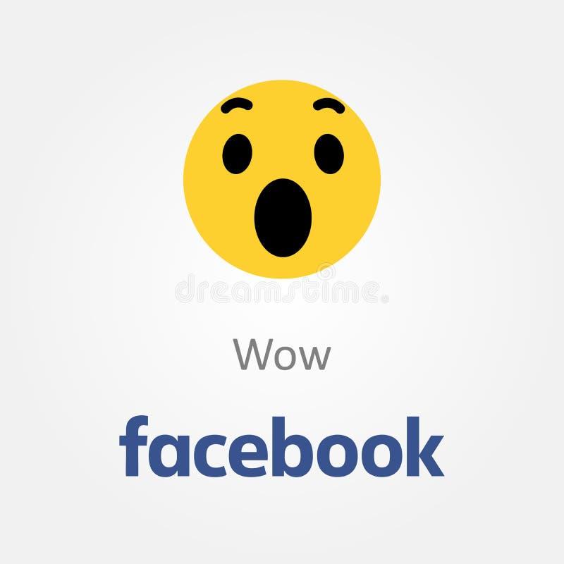 Facebook emotion icon. Wow emoji vector royalty free illustration