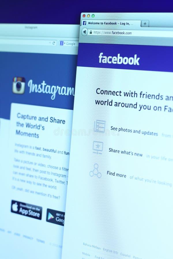 Facebook en de hoofdwebpagina van Instagram stock afbeelding