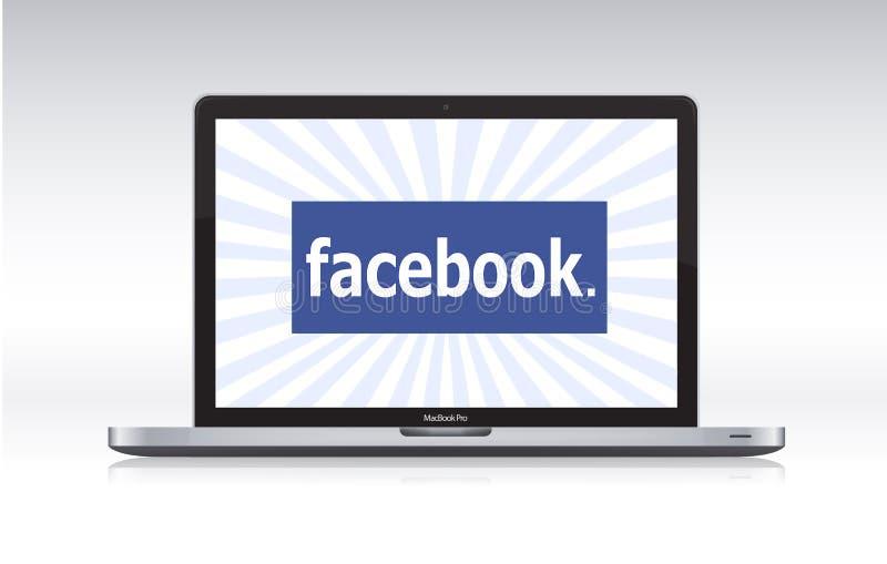 Facebook en el macbook favorable ilustración del vector