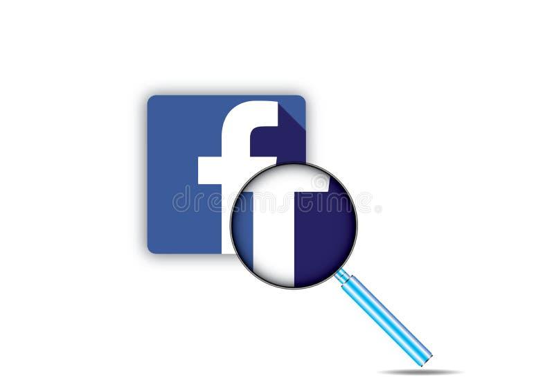 Facebook en Vergrootglas stock illustratie