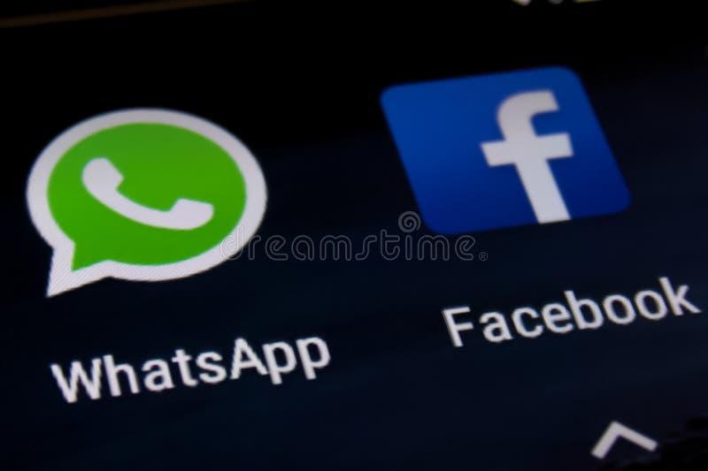 Facebook en Whatsapp stock afbeelding