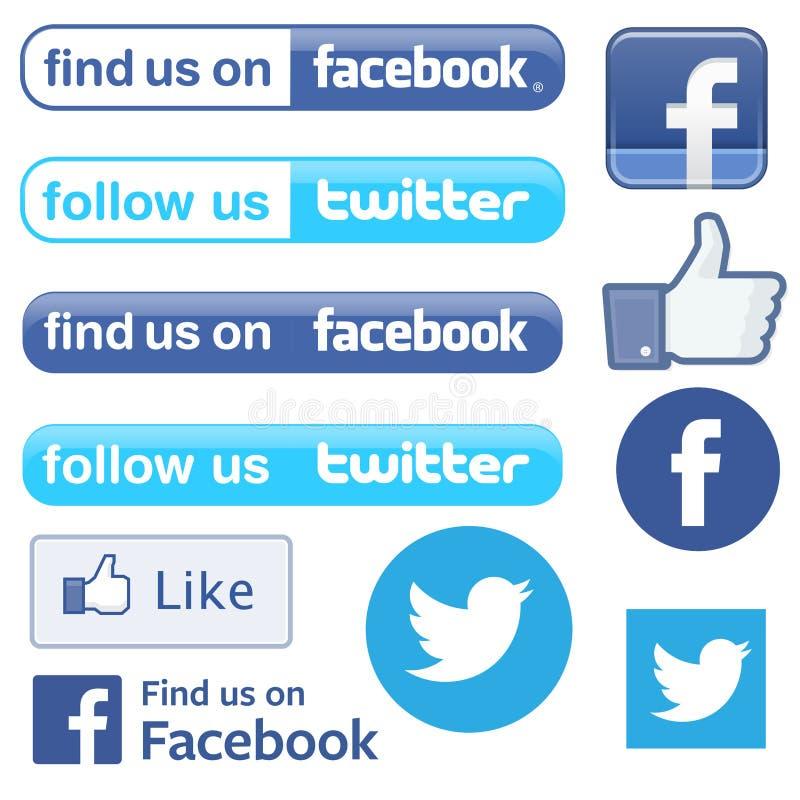 Facebook et le Twitter suivent la découverte illustration libre de droits
