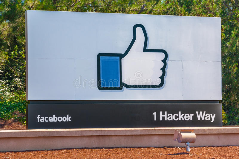 Facebook företags kontor i Kalifornien arkivbilder