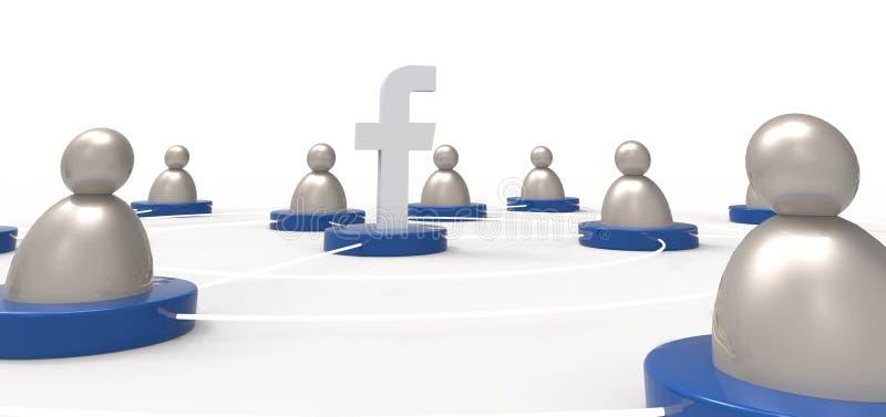 Facebook/folksymboler Socialt medelbegrepp Illustrativt redigera royaltyfri illustrationer