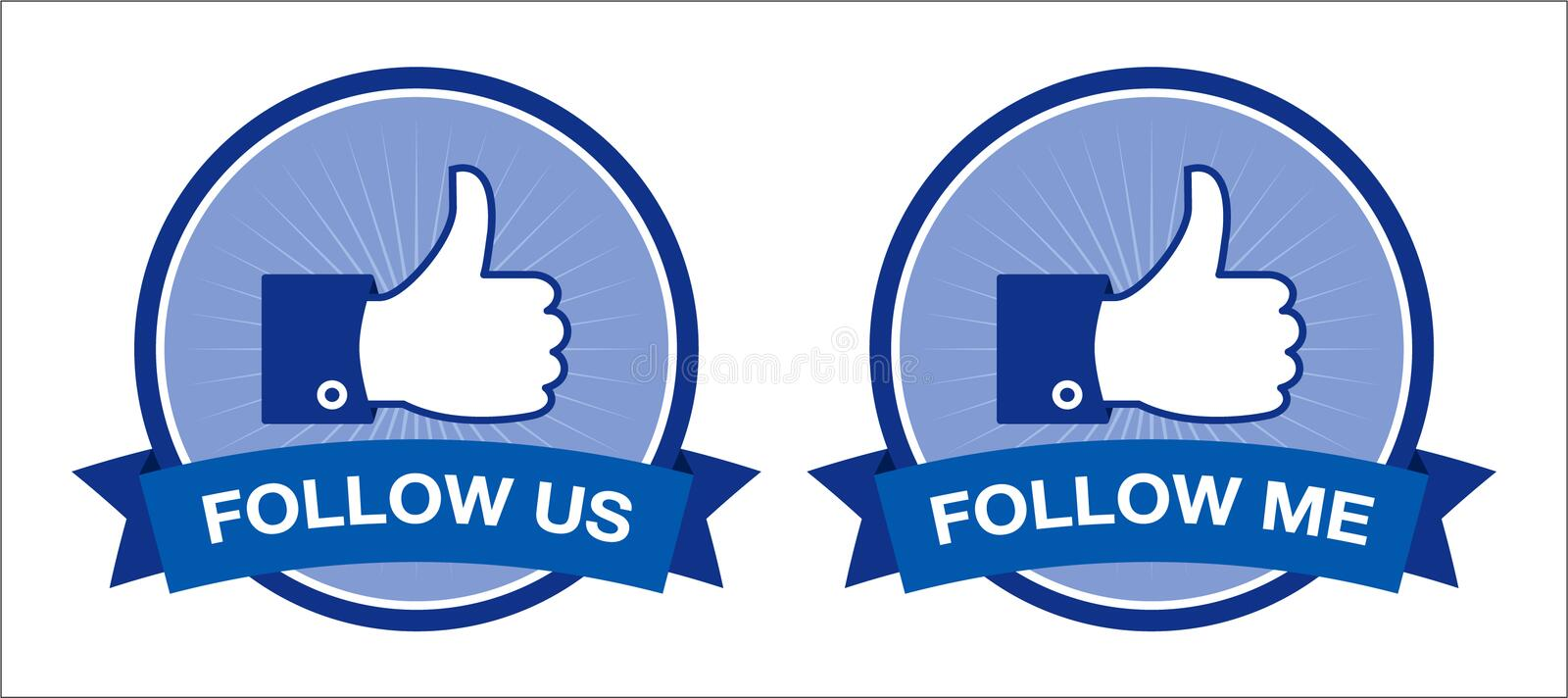 Facebook follow us / follow me buttons - retro. Set of vector retro facebook buttons isolated on white background. EPS available