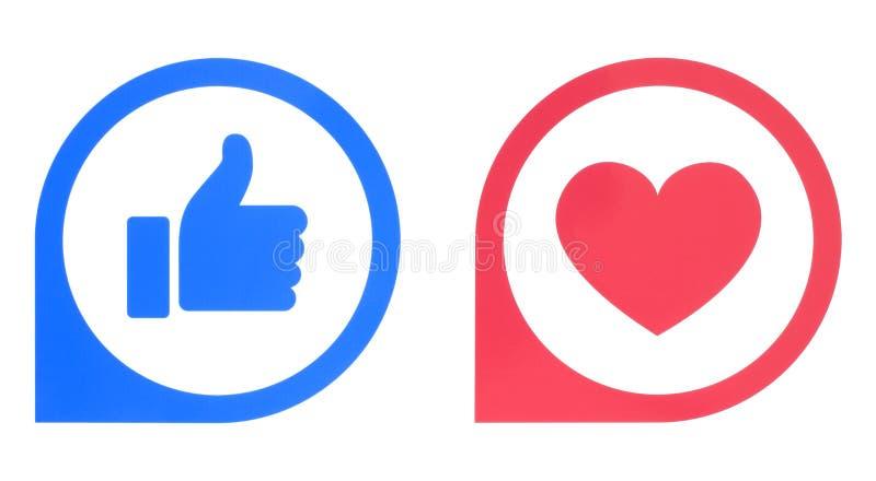 Facebook gillar, och förälskelse knäppas pekare av Empathetic Emoji reaktioner vektor illustrationer