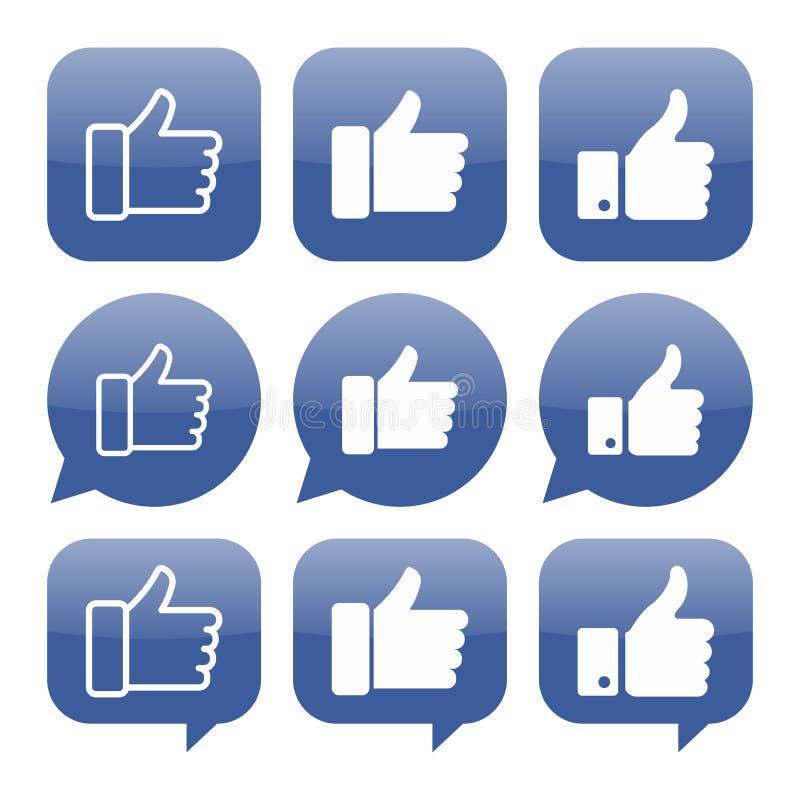 Facebook gillar symbolsvektorsamlingen vektor illustrationer