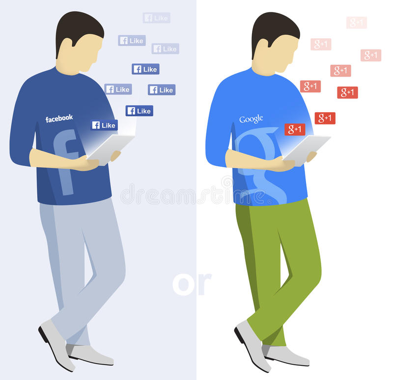 Facebook and Google users stock illustration
