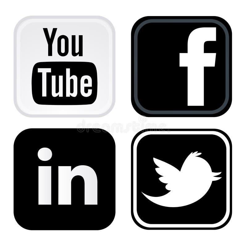 Facebook, gorjeio, youtube, logotipo do linkedin imprimiu no Livro Branco ilustração stock